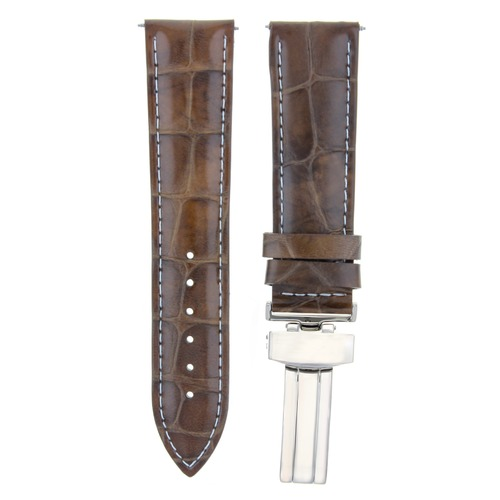19MM LEATHER BAND STRAP FOR MAURICE LACROIX WATCH DEPLOY CLASP LIGHT BROWN WS