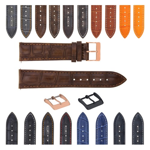 17-18-19-20-21-22-23-24MM LEATHER WATCH BAND STRAP FOR CITIZEN DRIVE ROSE BLACK