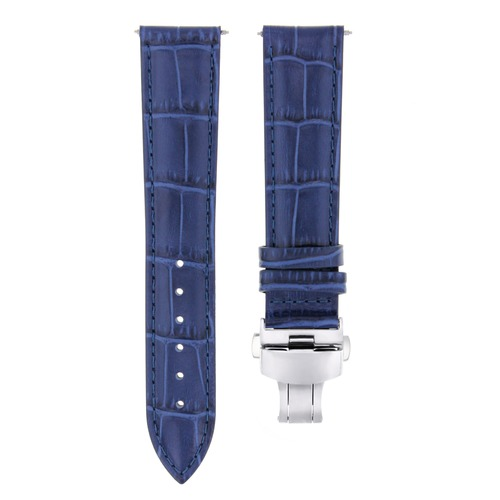 21MM LEATHER WATCH BAND STRAP FOR 40MM ORIS ARTELIER SKELETON 733-7670  BLUE