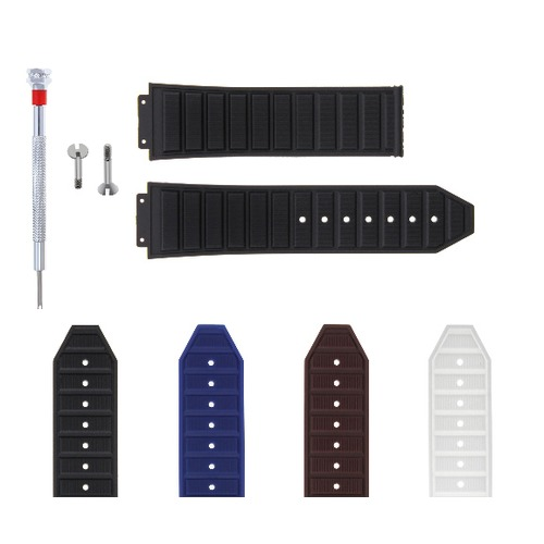 24-28MM RUBBER STRAP BAND FOR HUBLOT 44-48MM BIG BANG KING POWER SCREW + DRIVER