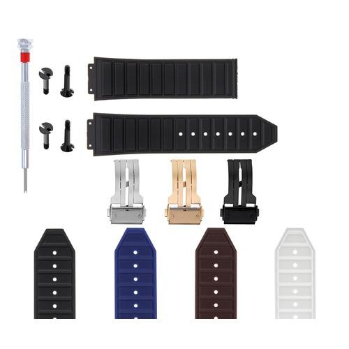 24-28MM RUBBER STRAP BAND FOR H HUBLOT 44-48MM BIG BANG KING POWER 4 BLACK SCREW