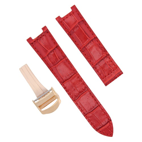 21MM GENUINE LEATHER STRAP BAND FIT FOR CARTIER PASHA DEPLOY CLASP RED ROSE