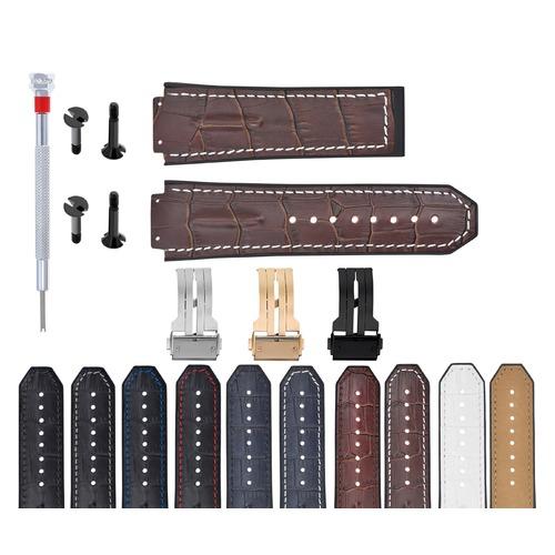 25-28MM LEATHER RUBBER STRAP FOR 44-45-48MM HUBLOT BIG BANG BLACK SCREW COMPLETE
