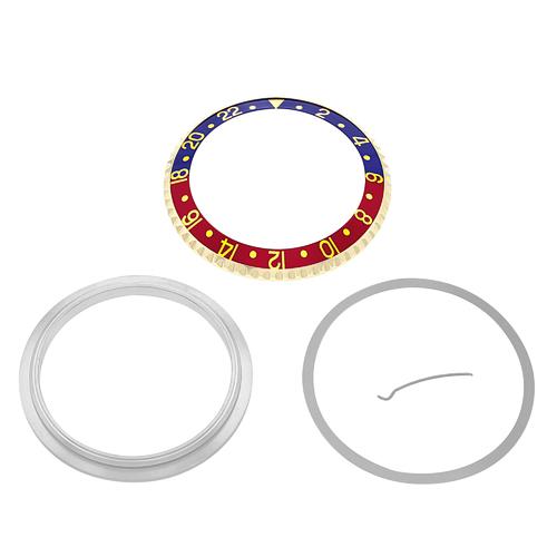 BEZEL + RETAINING +INSERT FOR ROLEX GMT 18K REAL GOLD 16700 16710 BLUE/RED PEPSI