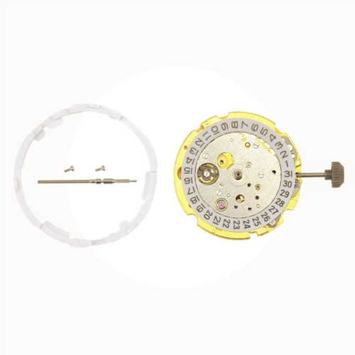 MIYOTA 8215 JAPAN AUTOMATIC MOVEMENT 21 JEWELS DATE @3 GOLD + EXTRA PARTS