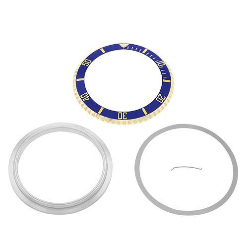 BEZEL & INSERT & RETAINING FOR ROLEX SUBMARINER 18K REAL GOLD 16800 1803 BLUE