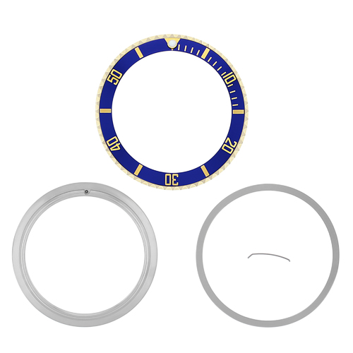 BEZEL & INSERT & RETAINING FOR ROLEX SUBMARINER SERTI 16613 16803 BLUE GOLD GP