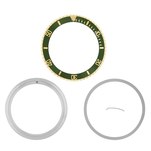 BEZEL & INSERT+ RETAINING FOR ROLEX SUBMARINER 18K GOLD 16810 16808 16613 GREEN
