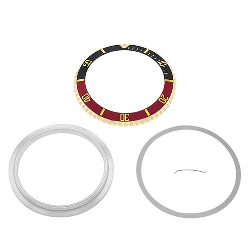 BEZEL+INSERT+RETAINING FOR ROLEX SUBMARINER 18KY REAL GOLD 16800 16613 BLACK/RED