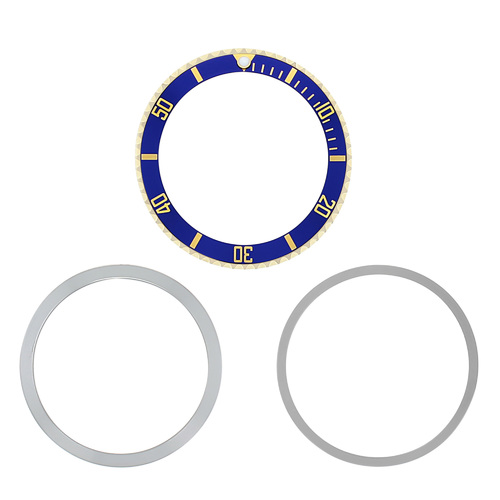 BEZEL & INSERT  RETAINING FOR ROLEX SUBMARINER 18K REAL GOLD 5512 5513 1680 BLUE