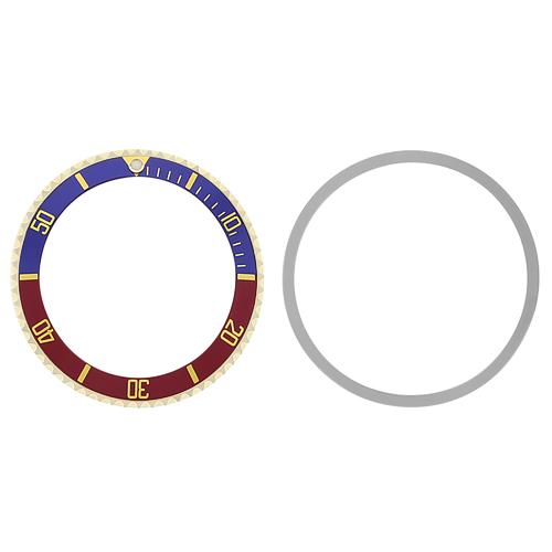 BEZEL & INSERT FOR ROLEX SUBMARINER 5508 5512 5513 1680 BLUE/RED PEPSI GOLD FONT