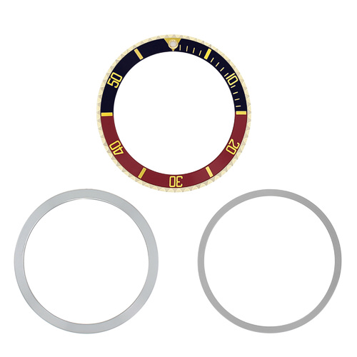 BEZEL & INSERT +RETAINING FOR ROLEX SUBMARINER 5508 5512 5513 1680 BLUE/RED GOLD