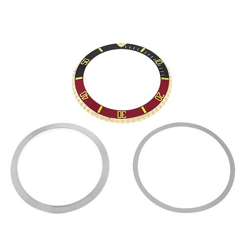 BEZEL+INSERT + RETAINING FOR ROLEX SUBMARINER 18K GOLD 5512  5513 1680 BLACK/RED