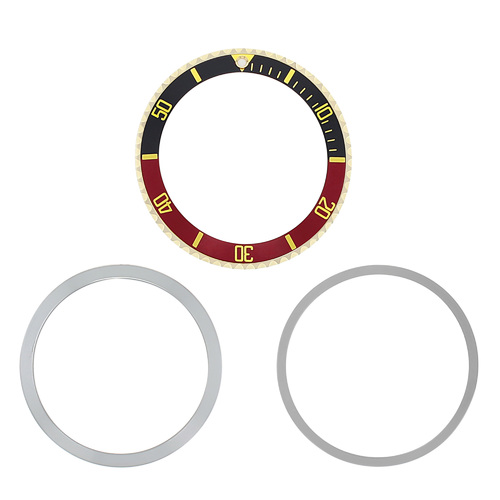 BEZEL+INSERT + RETAINING FOR ROLEX SUBMARINER 18K GOLD 5512  5513 1680 BLACK/RED