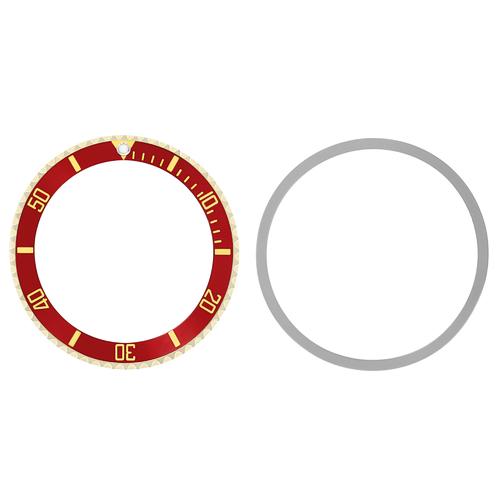 BEZEL & INSERT FOR SUBMARINGER PLASTIC MODEL 5508 5512 5513 WATCH RED GOLD FONT