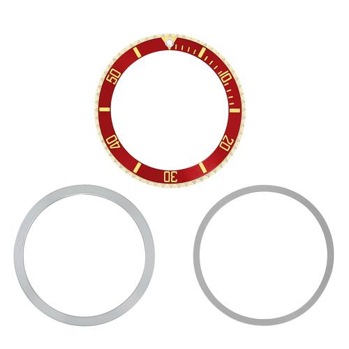 BEZEL & INSERT  RETAINING FOR SUBMARINGER PLASTIC MODEL 5508 5512 5513 RED GOLD