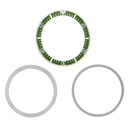 BEZEL + INSERT + RETAINING RING FOR ROLEX SEA DWELLER  MILITARY 1665 5517 GREEN