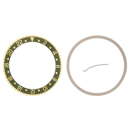 BEZEL & INSERT FOR ROLEX GMT I, II 18KY REAL GOLD 16700 16713 16718 16760 GREEN