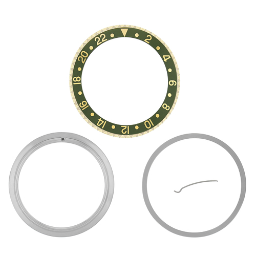 BEZEL & INSERT & RETAINING FOR ROLEX GMT 18KY GOLD 16700 16713 16718 16760 GREEN