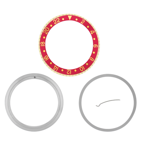 BEZEL+INSERT+RETAINING FOR ROLEX GMT 18K REAL GOLD 16700 16710 16713  16718 RED