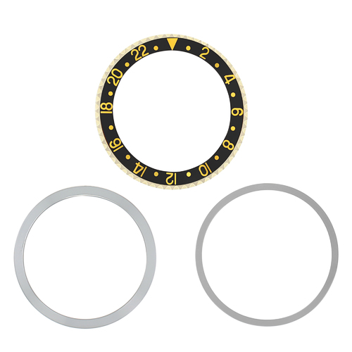 BEZEL,INSERT,RETAINING FOR ROLEX GMT 18KY REAL GOLD 1675 16750 16753 16758 BLACK