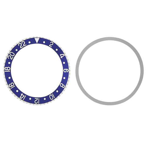 BEZEL & INSERT FOR ROLEX GMT I 1670 1675 16750 16753 16758 BLUE SILVER FONT