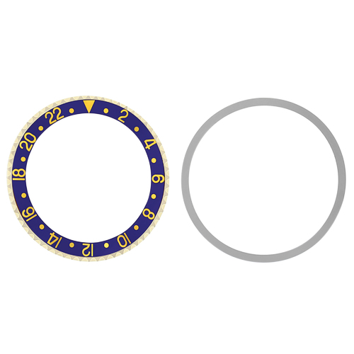 BEZEL & INSERT FOR ROLEX GMT 18K REAL GOLD 1670 1675 16750 16753 16758 BLUE