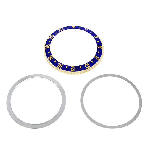 BEZEL & INSERT & RETAINING ALUMINUM FOR ROLEX GMT I 1670 1675 16750 16753 16758 BLUE GOLD FONT 18KY