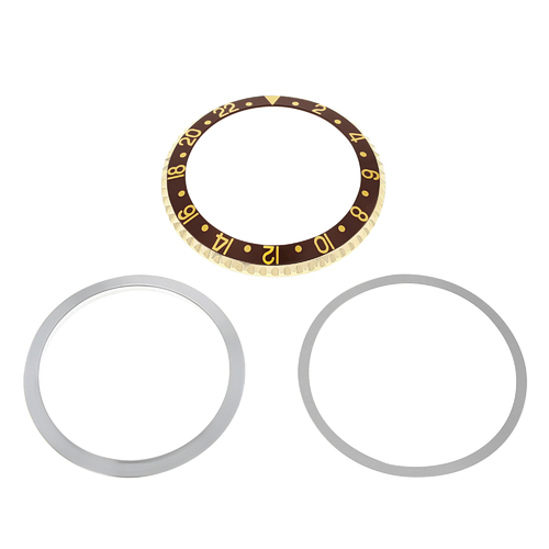 BEZEL,INSERT,RETAINING FOR ROLEX GMT 18KY GOLD 1670 1675 16750 16753 16758 BROWN