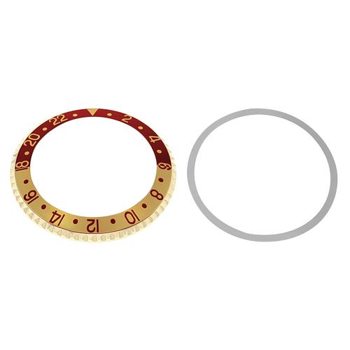 BEZEL & INSERT FOR ROLEX GMT I8K REAL GOLD 1675 16750 16753 16758 RED/GOLD