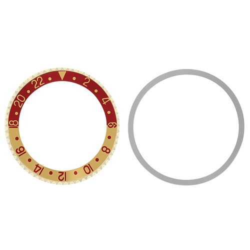 BEZEL & INSERT FOR ROLEX GMT I8K REAL GOLD 1675 16750 16753 16758 RED/GOLD