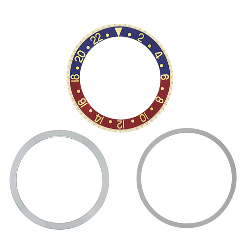 BEZEL & INSERT,RETAINING FOR ROLEX GMT 18K REAL GOLD1675 16750 16753 16758 PEPSI