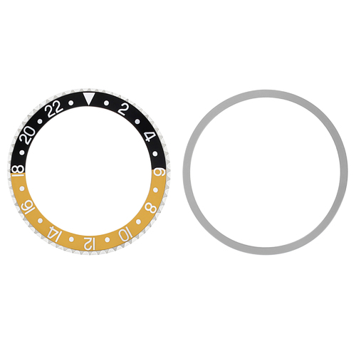 BEZEL & INSERT FOR ROLEX GMT I MASTER 1675 16750 16753 16758 BLACK/GOLD SILVER #