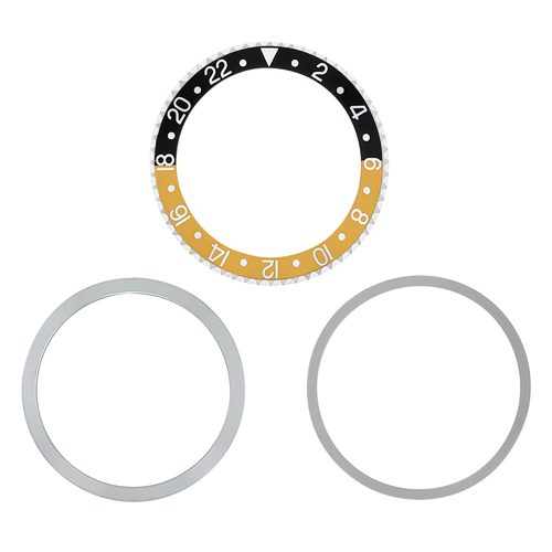 BEZEL & INSERT, RETAINING FOR ROLEX GMT 1675 16750 16753 16758 BLACK/GOLD SILVER