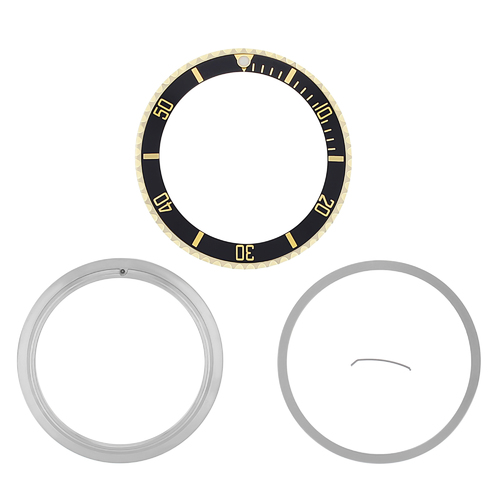 BEZEL+CERAMIC INSERT+RETAINING FOR ROLEX SUBMARINER 18K GOLD 16800 16613 16610