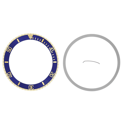 BEZEL & CERAMIC INSERT FOR ROLEX 18K REAL GOLD 16800,16803,16613,16618 BLUE
