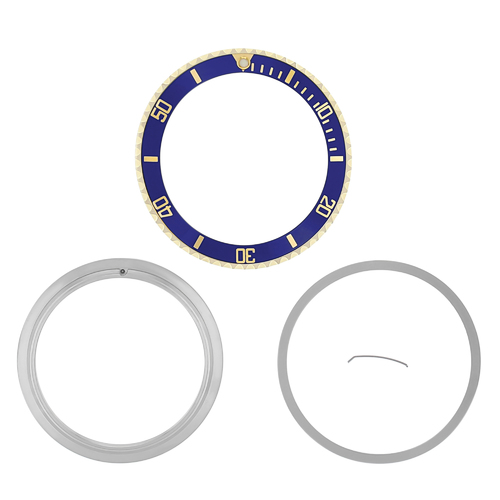 BEZEL,CERAMIC INSERT + RETAINING FOR ROLEX 18KY REAL GOLD 16800 16803 16613 BLUE