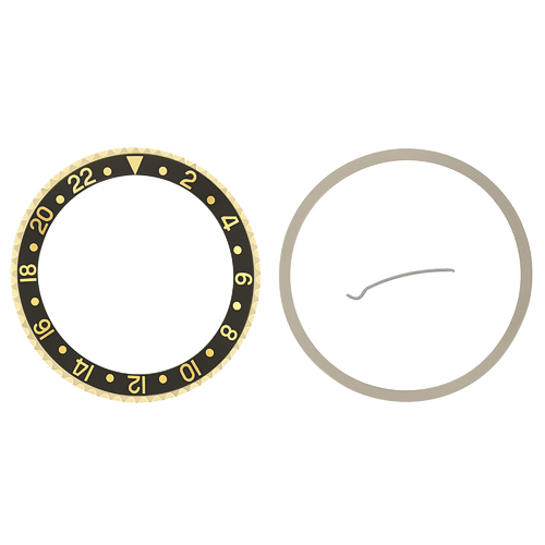 BEZEL + CERAMIC INSERT FOR ROLEX GMT 18K REAL GOLD 16710 16713 16718 16760 BLACK