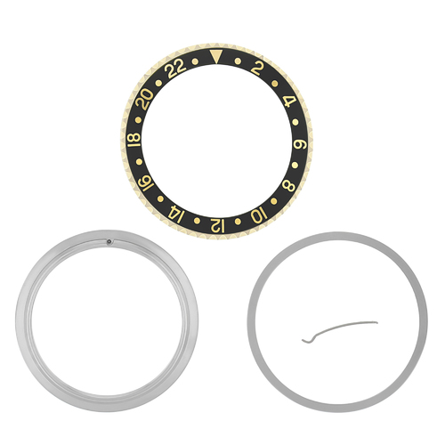 BEZEL,CERAMIC INSERT & RETAINING FOR ROLEX GMT 16710,16713,16718 BLACK GOLD 18KY