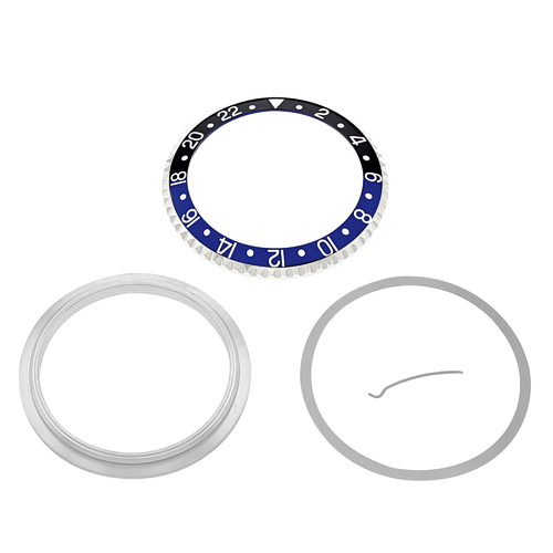 BATMAN BEZEL, CERAMIC INSERT RETAINING FOR ROLEX GMT 16700 ENGRAVED BLACK BLUE