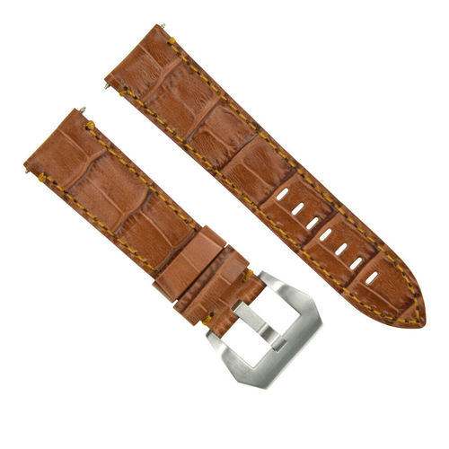 24MM LEATHER WATCH BAND STRAP FOR BREITLING NAVITIMER CHRONOMAT COLT L/BROWN OC