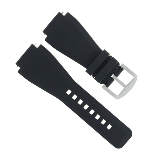 BR02 BR-02 SILICONE RUBBER STRAP BAND BRACELET FOR BELL & ROSS B & R BLACK