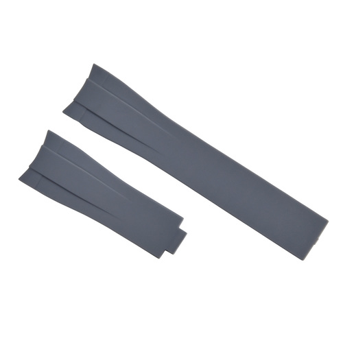 20MM RUBBER STRAP BAND FOR ROLEX DATEJUST SUBMARINER GMT DAYTONA CURVED END GREY