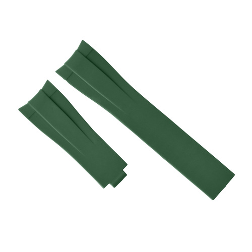 20MM RUBBER STRAP BAND FOR ROLEX DATEJUST SUBMARINER GMT DAYTONA CURVE END GREEN