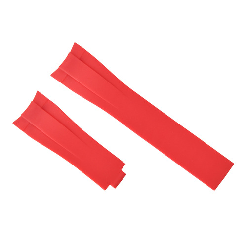 21MM RUBBER STRAP BAND FOR 42MM ROLEX EXPLORER II GMT 216570 WATCH CURVE END RED