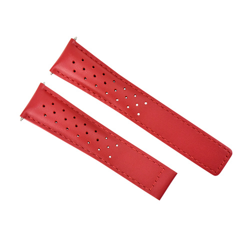 LEATHER BAND STRAP 22MM FOR TAG HEUER MONACO GRAND CARRERA CALIBRE 6, 12, 36 RED