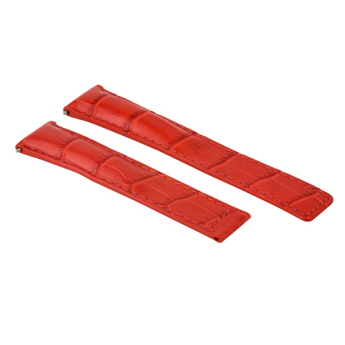 19MM LEATHER WATCH BAND STRAP FOR TAG HEUER CARERRA TWIN TIME FORMULA CLASP RED