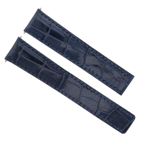 24/20MM LEATHER WATCH BAND STRAP FOR BREITLING NAVITIMER CHRONOMAT BENTLEY BLUE