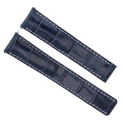24/20MM LEATHER WATCH BAND STRAP FOR BREITLING NAVITIMER AVENGER BENTLEY BLUE