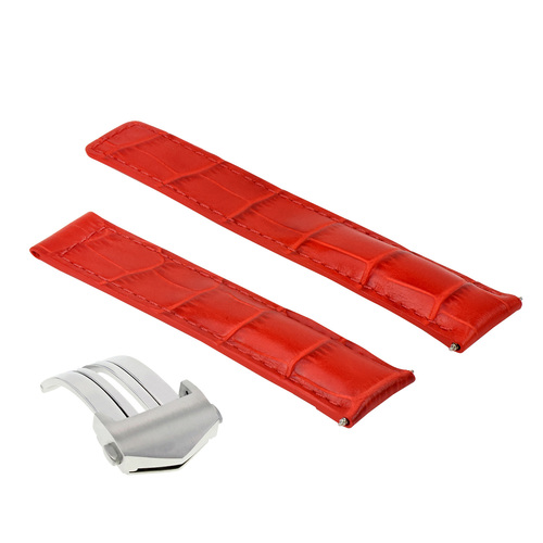 20MM LEATHER WATCH BAND STRAP FOR TAG HEUER CARERRA TWIN TIME FORMULA CLASP RED